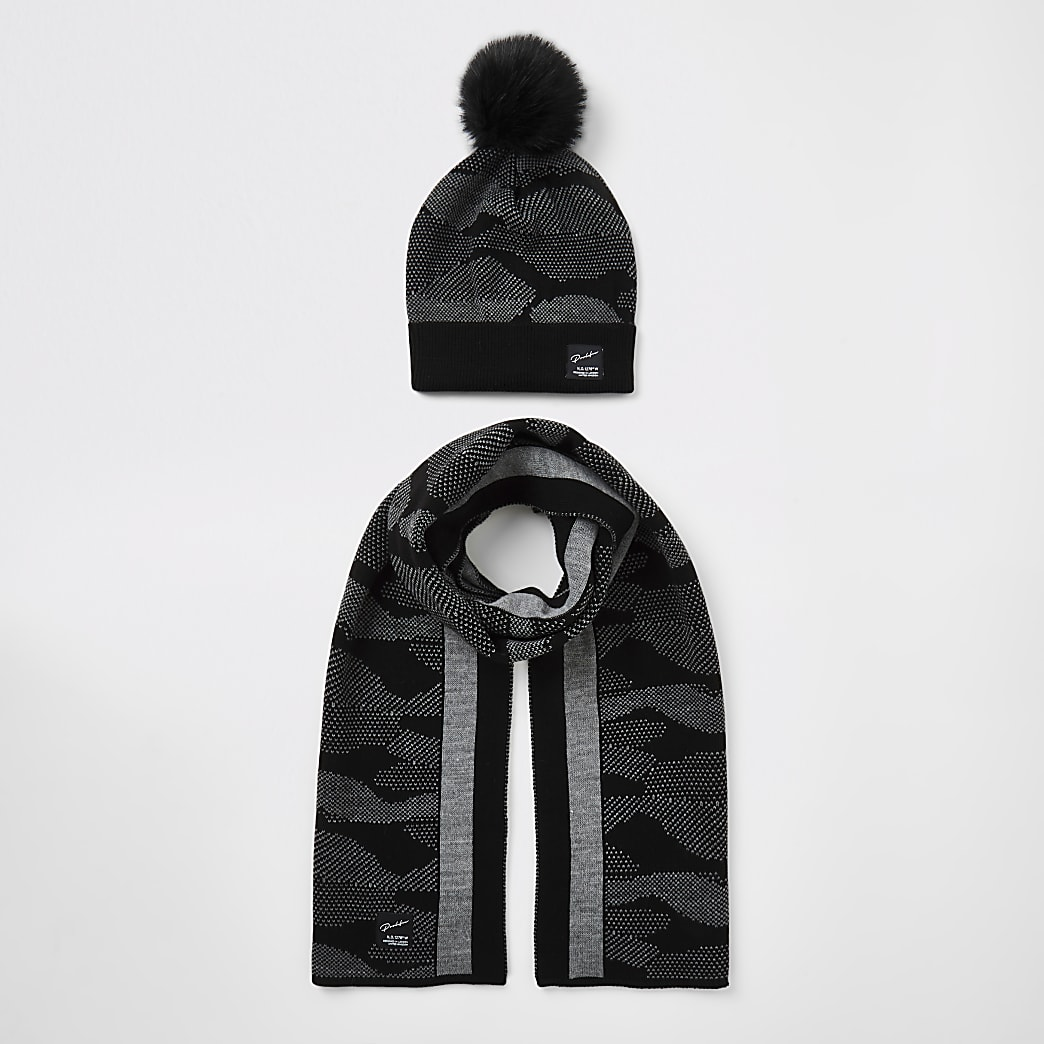 Boys black Prolific camo hat and scarf set