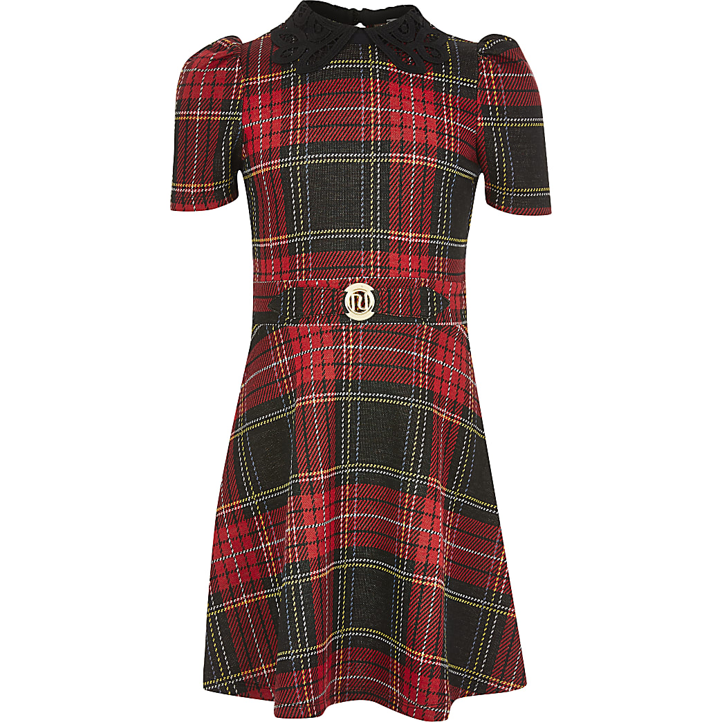 Girls red tartan lace collar skater dress