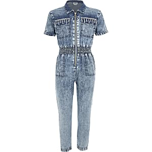 Blauer Jeansoverall mit Strassverzierung für Mädchen