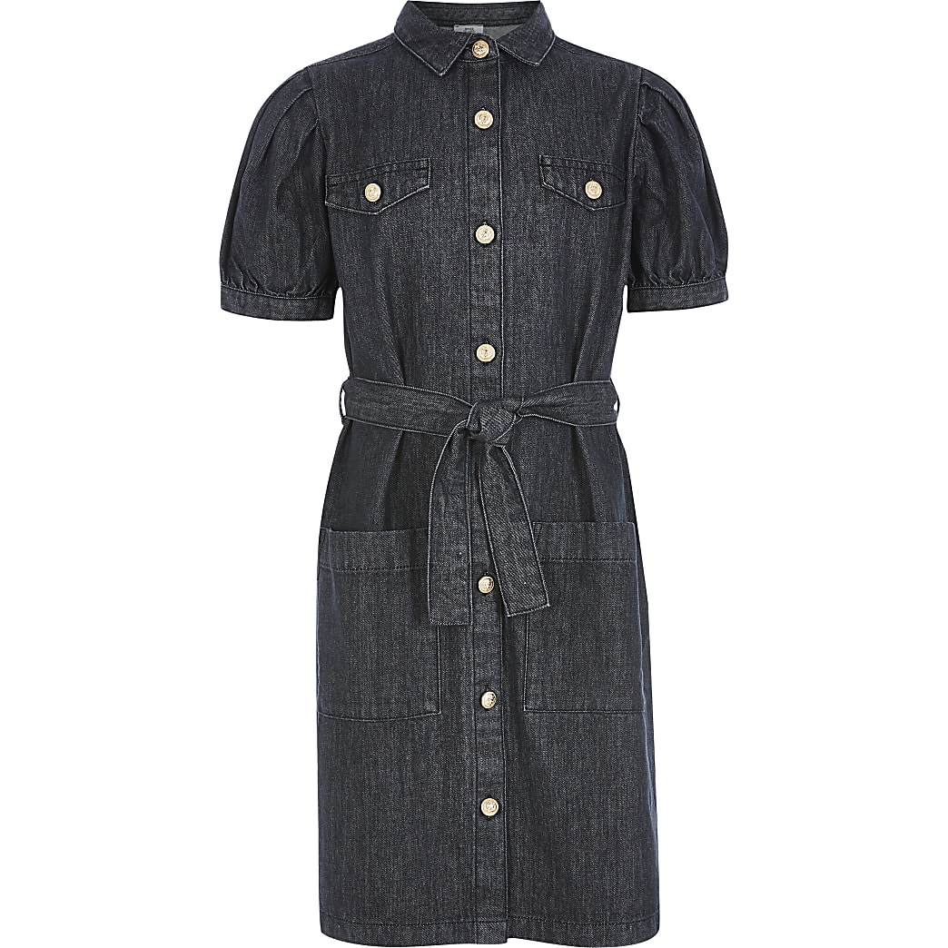 Girls black puff sleeve belted denim dress