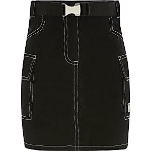 Mini jupe utilitaire noire pour fille