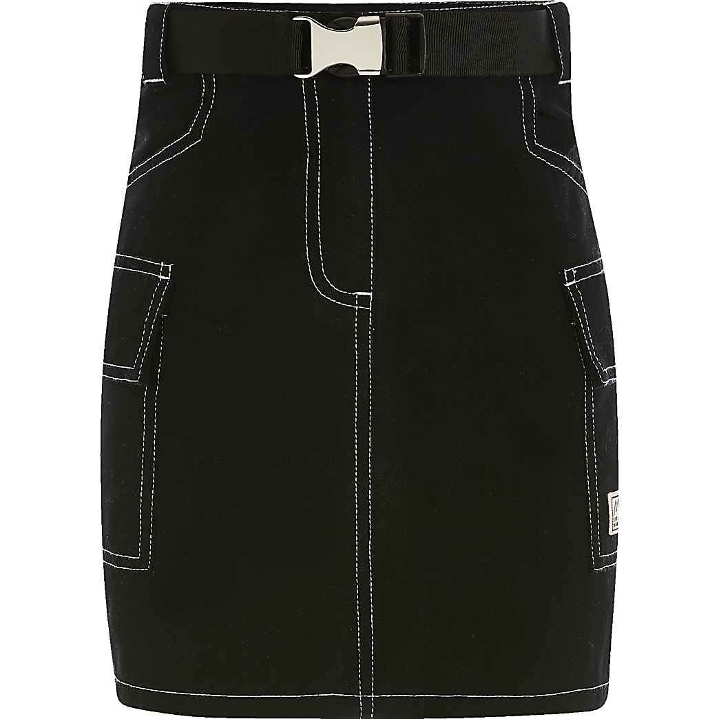 Girls black utility mini skirt