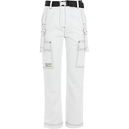 Girls white contrast stitch belted trousers