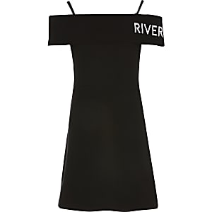 Schwarzes RI-Skaterkleid im Bardot-Stil für Mädchen