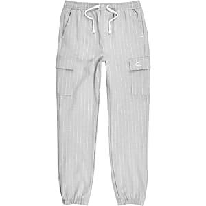 Pantalon de jogging habillé gris à fines rayures pour garçon