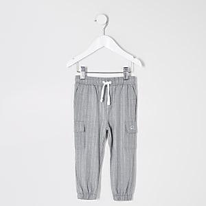 Pantalon de jogging habillé gris à fines rayures Mini garçon