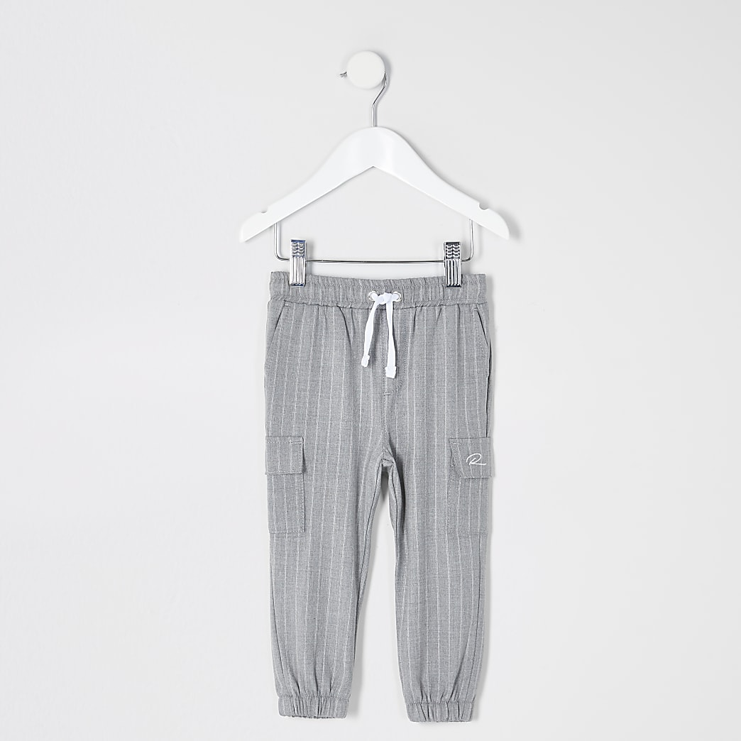 Mini boys grey pinstripe smart joggers