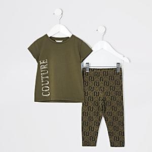 "Mini – Outfit mit T-Shirt ""Couture"" in Khaki für Mädchen"
