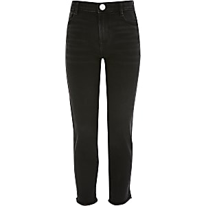 Schwarze Straight Jeans mit hohem Bund für Mädchen