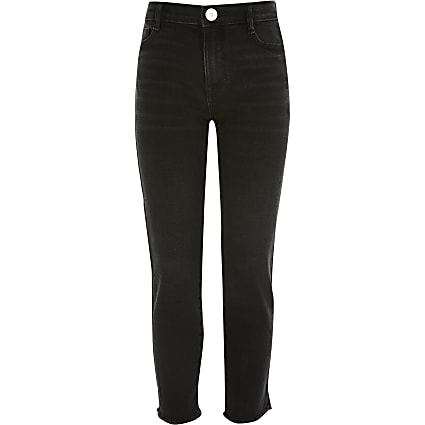 Girls black high rise straight jeans