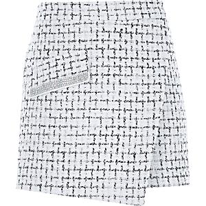Jupe-culotte style portefeuille en maille bouclée blanche pour fille