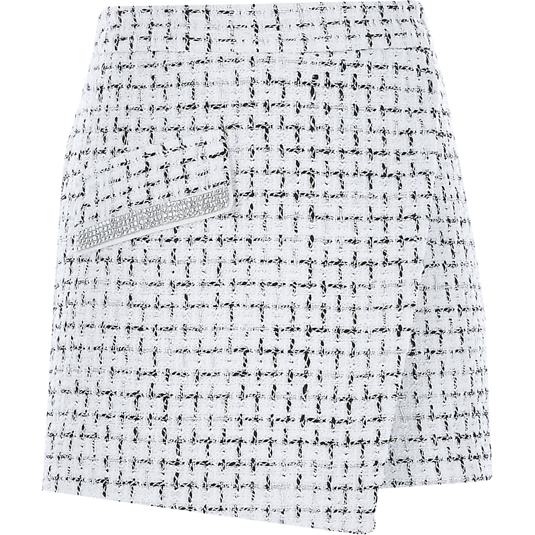 Girls white boucle wrap front skort