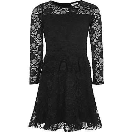 Girls black lace frill long sleeve dress