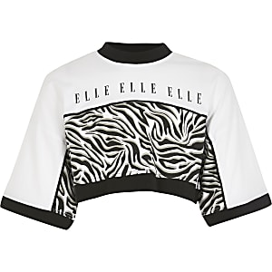 Girls ELLE white zebra print cropped top