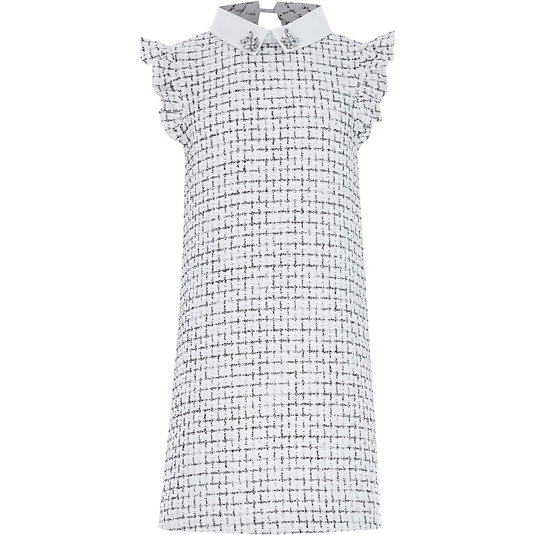 Girls white boucle diamante collar dress