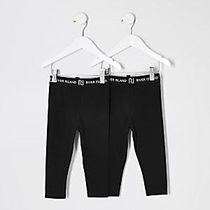 Mini - Set van 2 zwarte leggings met RI-tailleband voor meisjes
