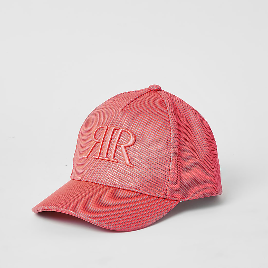 Girls coral RIR embroidered mesh cap