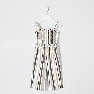 Mini– Overall mit weißen Streifen für Mädchen
