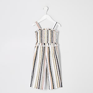 Mini girls white stripe shirred jumpsuit