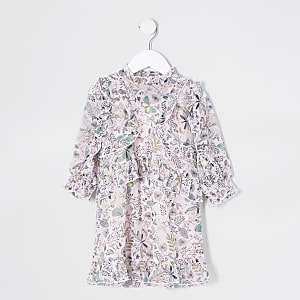 Robe imprimée rose à volants mini fille