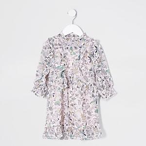 Mini - Roze jurk met print en franje voor meisjes