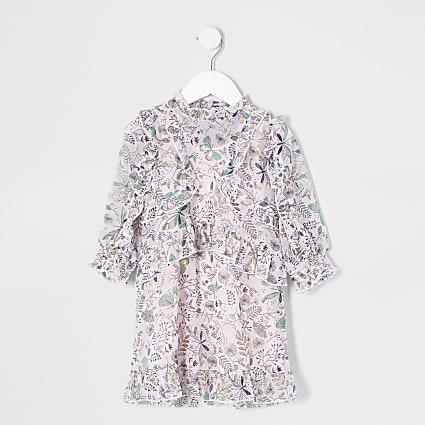 Mini girls pink printed frill dress