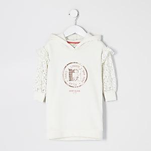 Mini – Cremefarbenes Sweatshirt-Kleid mit Spitze am Ärmel für Mädchen