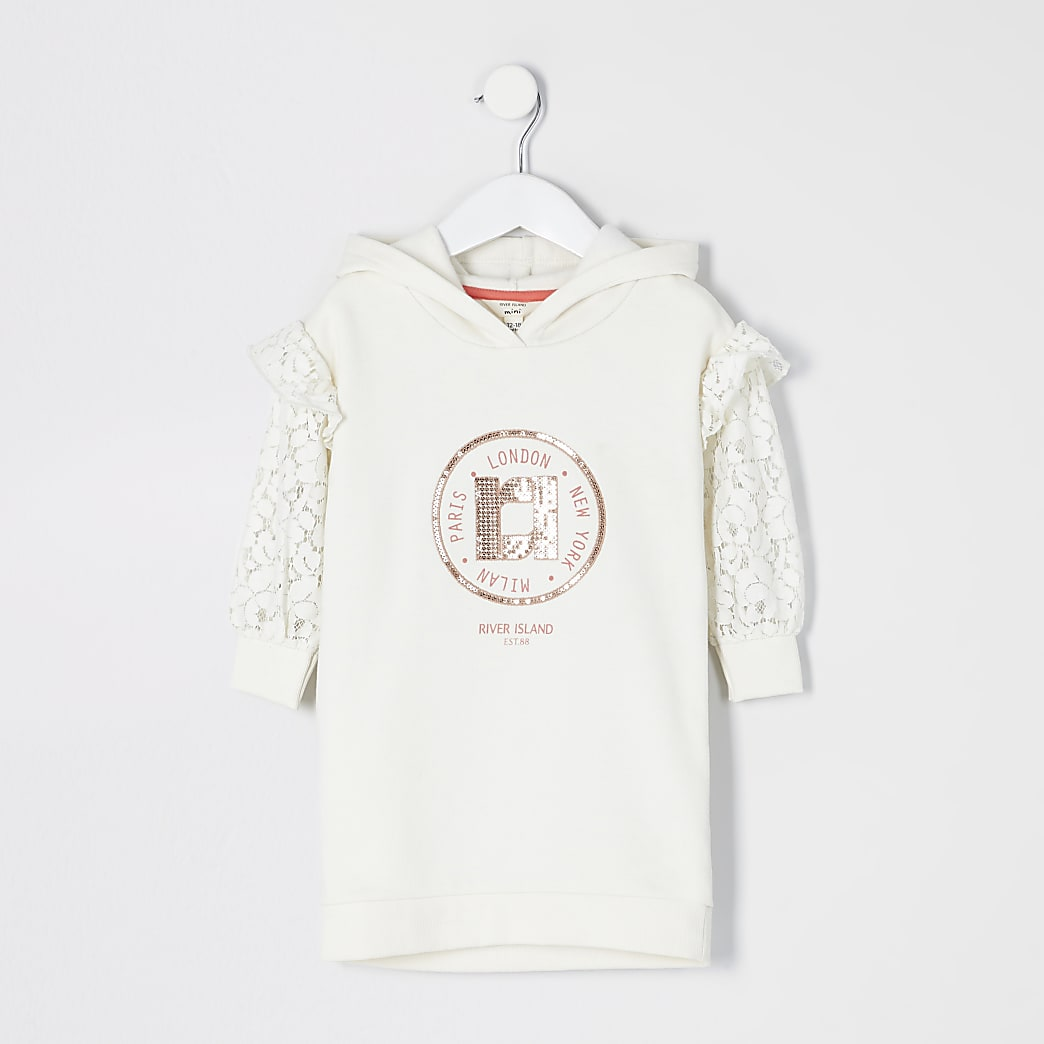 Mini girls cream lace sleeve sweatshirt dress