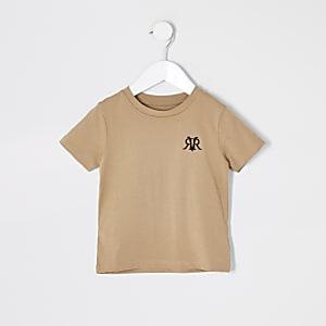 Mini - Kiezelkleurig RVR geborduurd T-shirt voor jongens