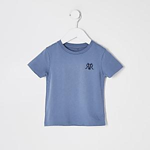 Mini – Blaues T-Shirt mit RVR-Stickerei für Jungen