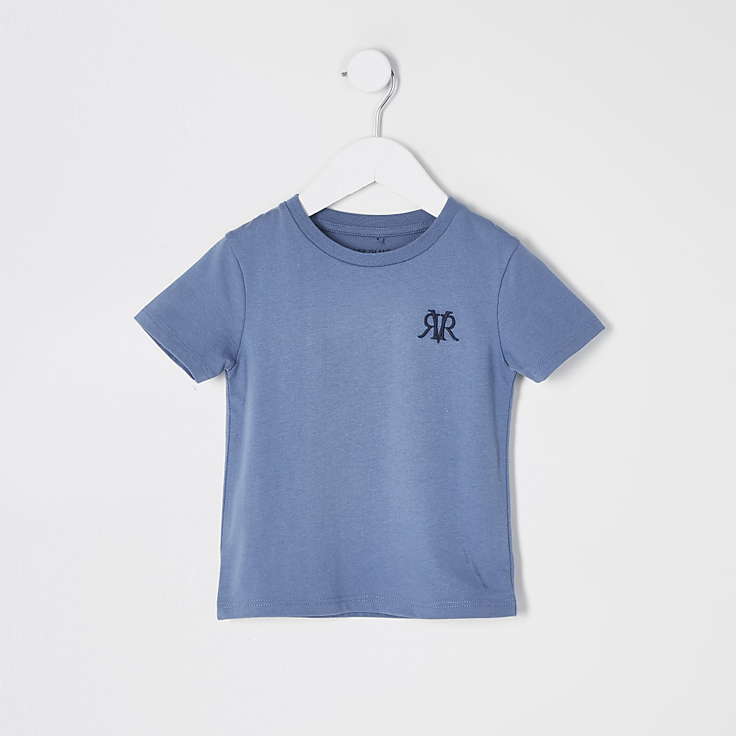 Mini boys blue RVR embroidered T-shirt