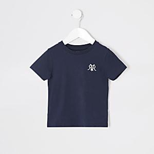 Mini - Marineblauw RVR geborduurd T-shirt voor jongens