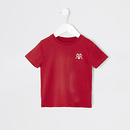 Mini boys red RVR embroidered T-shirt