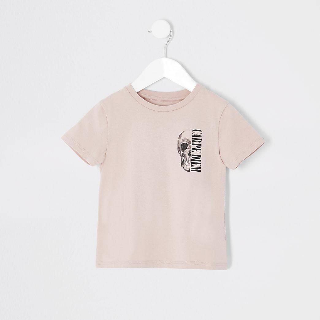 Mini boys light pink skull print T-shirt