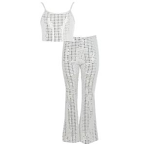 Weißes Pailletten-Outfit mit ausgestellter Hose für Mädchen