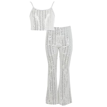 Girls white sequin flared trouser outfit