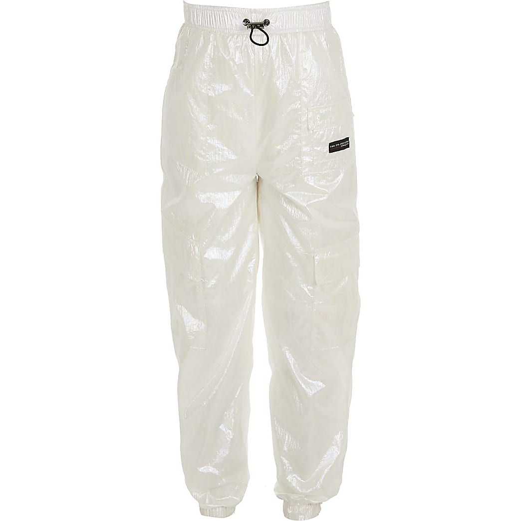 Girls RI Active white iridescent joggers