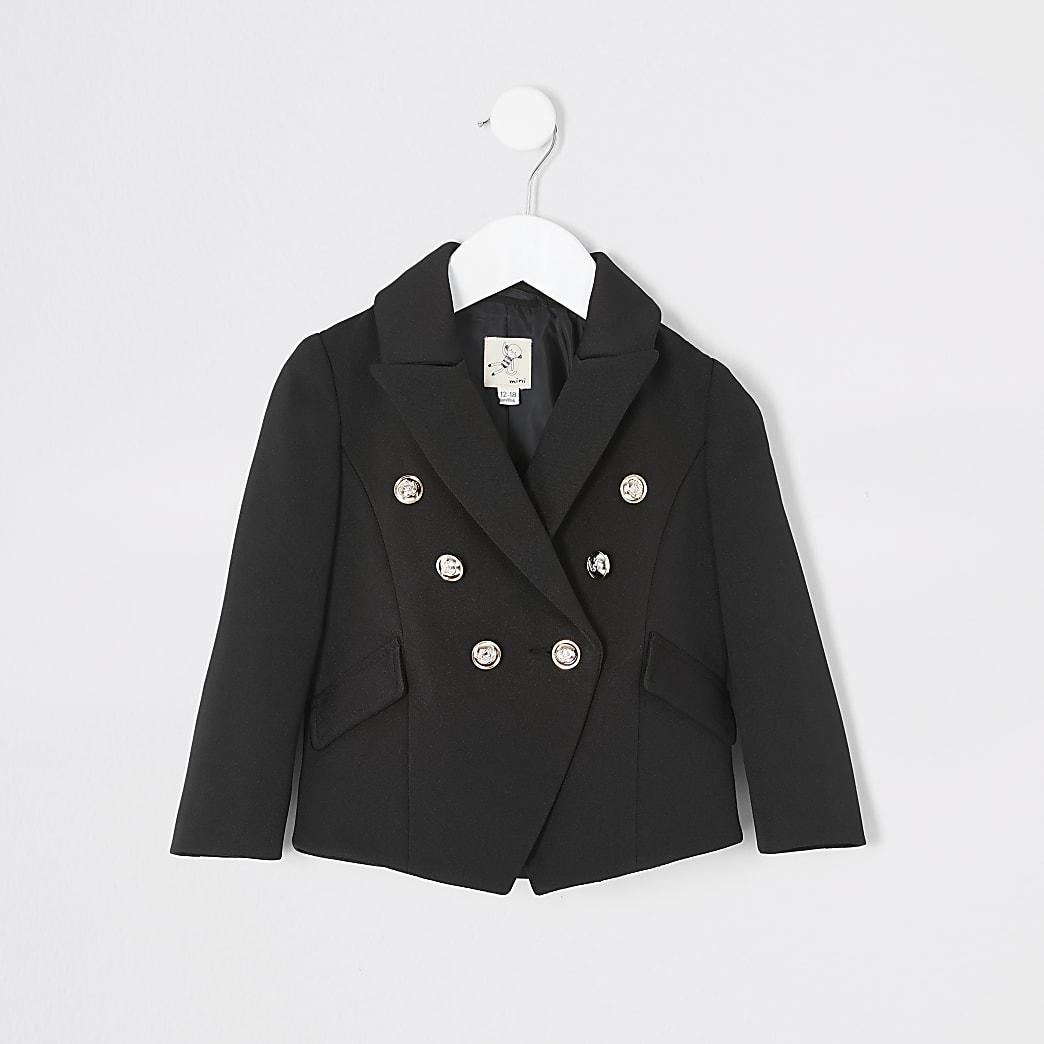 Mini girls black double breasted blazer