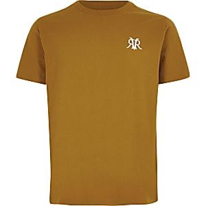 Geel T-shirt met RVR-borduursel voor jongens