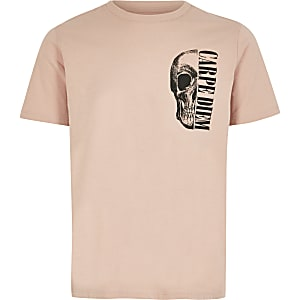 Lichtroze T-shirt met doodshoofdprint voor jongens