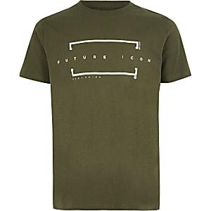 Kaki T-shirt met 'Future icon'-print voor jongens