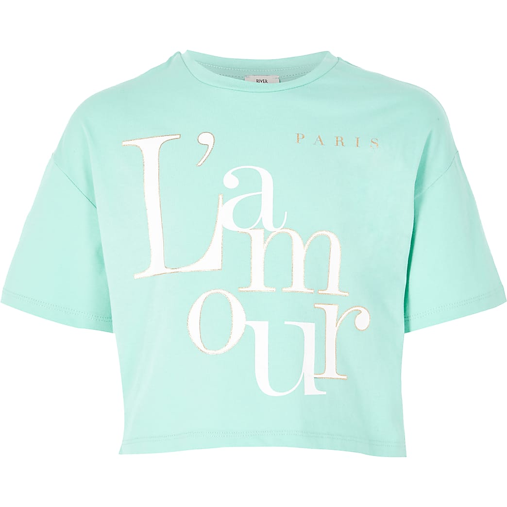 Turquoise cropped T-shirt met 'L'amour'-print voor meisjes