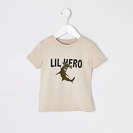 Mini boys beige 'Lil hero' T-shirt