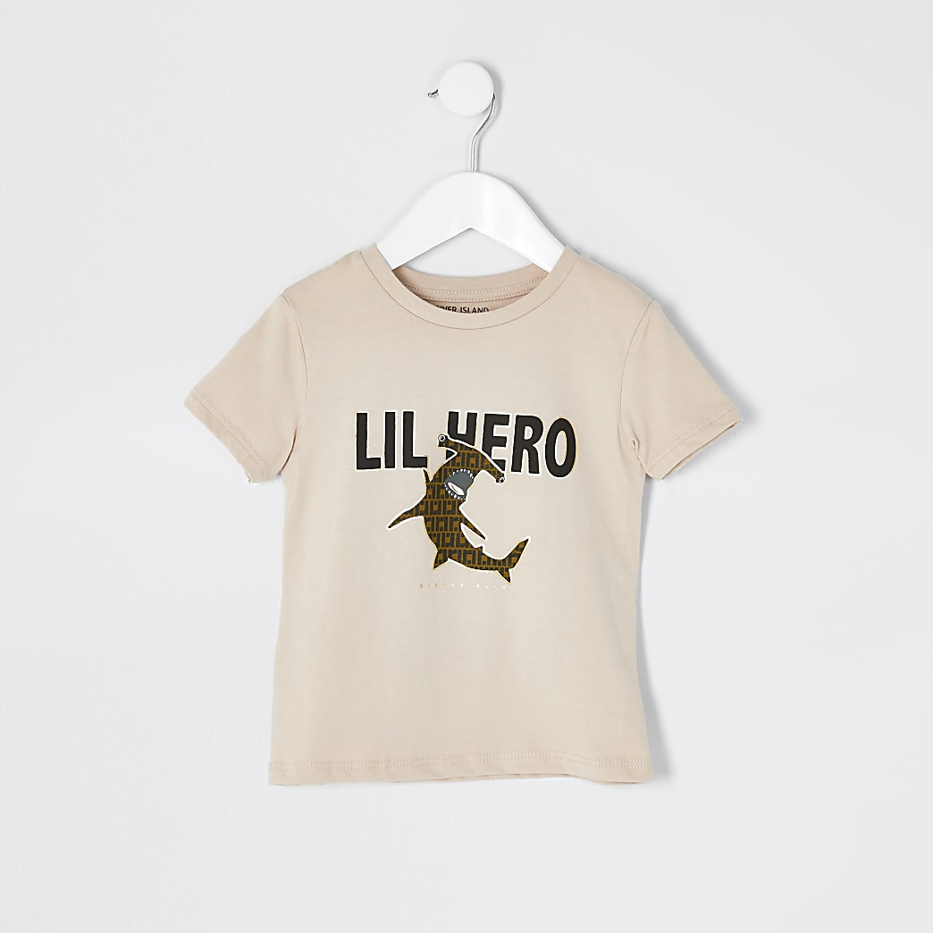 Mini boys beige 'Lil hero' T-shirt