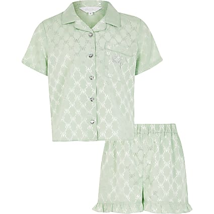 Girls green RI monogram satin pyjamas