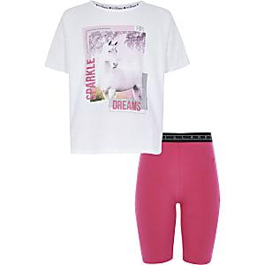 Pyjama avec t-shirt imprimé licorne blanc pour fille