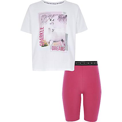 Girls white unicorn printed T-shirt pyjamas