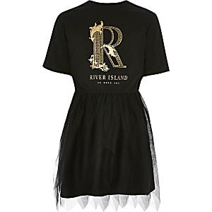 Zwarte jurk met rok van tule met R-print voor meisjes