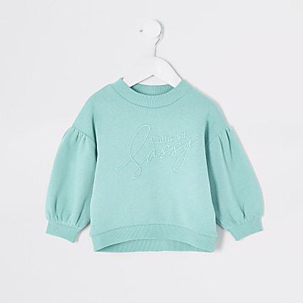 Mini girls turquoise 'sassy' sweatshirt