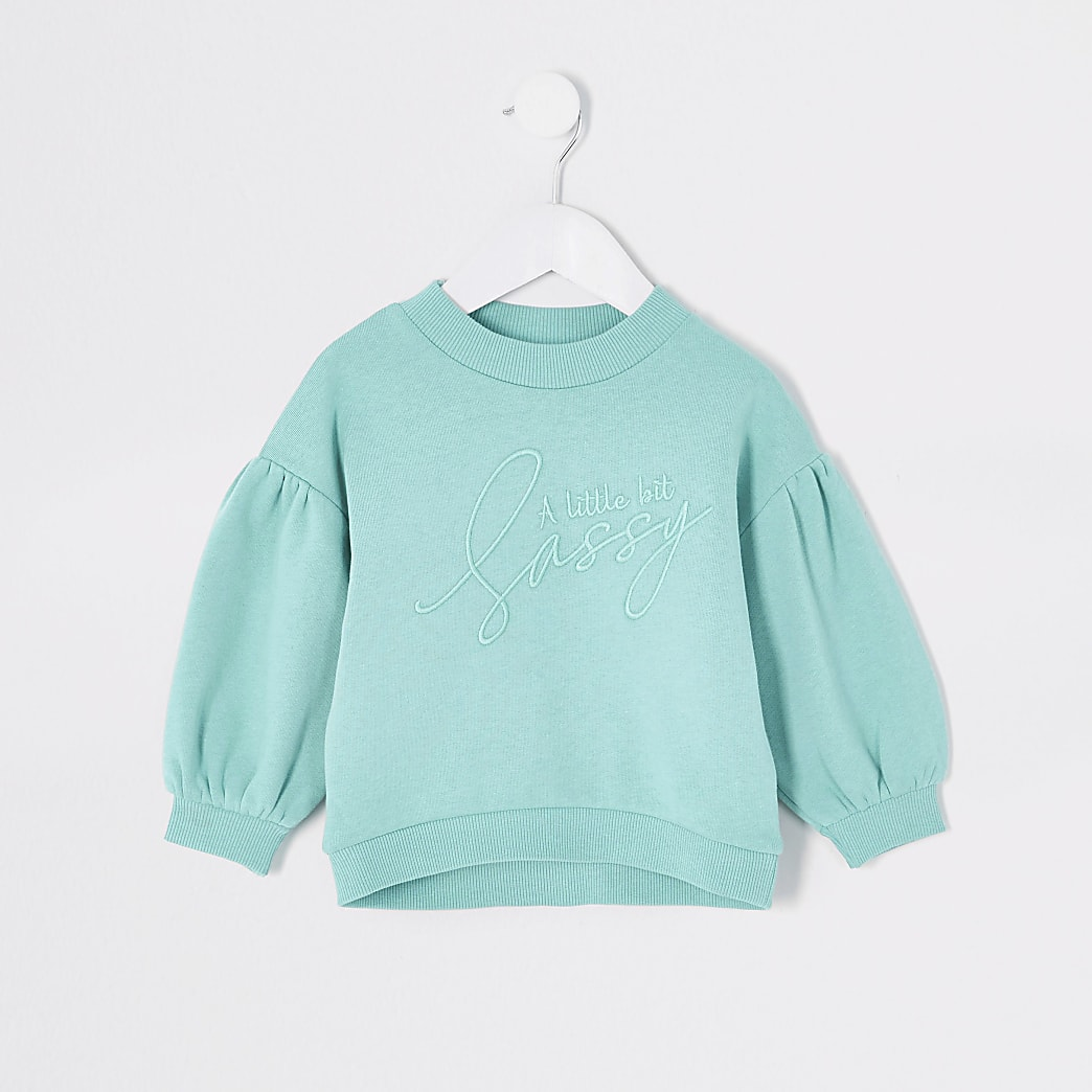 Mini - Turquoise sweater met 'sassy'-tekst voor meisjes